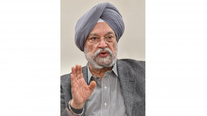 Union Aviation Minister Hardeep Singh Puri during a press conference. (PTI File Photo)