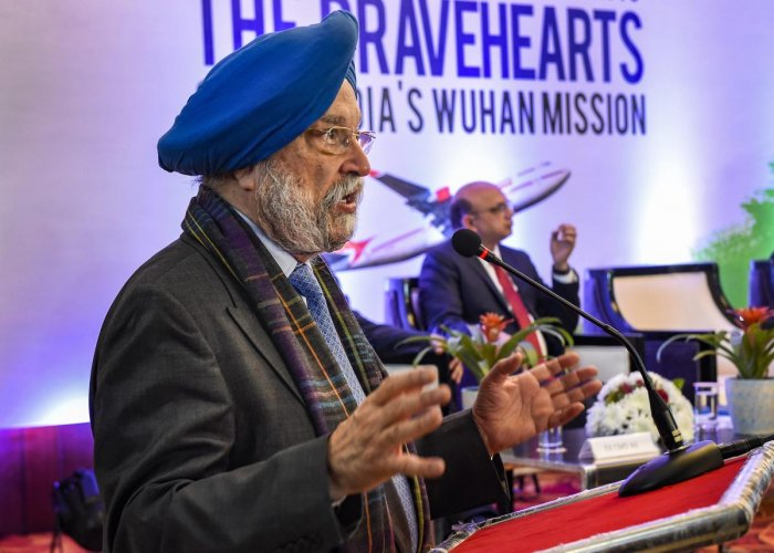 Minister of State for Housing and Urban Affairs Hardeep Singh Puri addresses during the distribution of Letters of Appreciation issued by PM at AAI Officer's club, in New Delhi, Monday, Feb. 17, 2020. (PTI Photo)