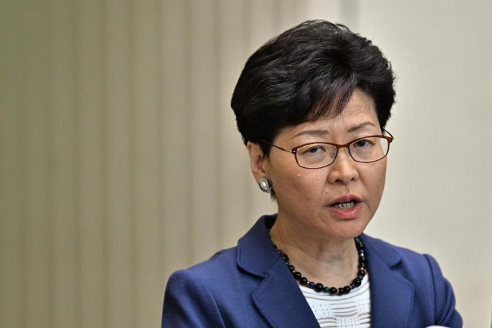 Chief Executive Carrie Lam speaks during a press conference at the government headquarters in Hong Kong on June 10, 2019, a day after the city witnessed its largest street protest in at least 15 years as crowds massed against plans to allow extraditions t