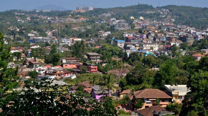 A bird's eye view of Madikeri town.