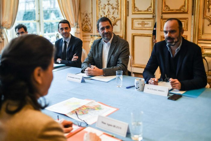 French Prime Minister Edouard Philippe (R), French Interior Minister Christophe Castaner (2R), Civil Security Advisor at the Ministry of the Interior Jerome Guerreau (2L), French Health and Solidarity Minister Agnes Buzyn and other ministers attend a meeting regarding measures to be taken after the first cases of coronavirus infection in France and the situation of French expatriates in the area of the epidemic in China. AFP