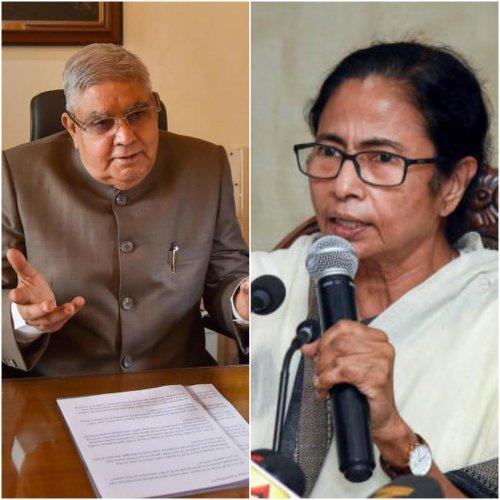 West Bengal Governor Jagdeep Dhankhar and Chief Minister Mamata Banerjee. (PTI photo)