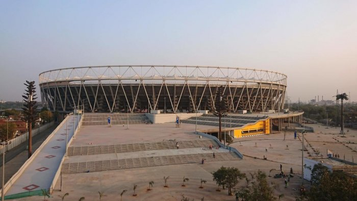 A view of Motera Cricket Stadium is pictured on the outskirts of Ahmedabad