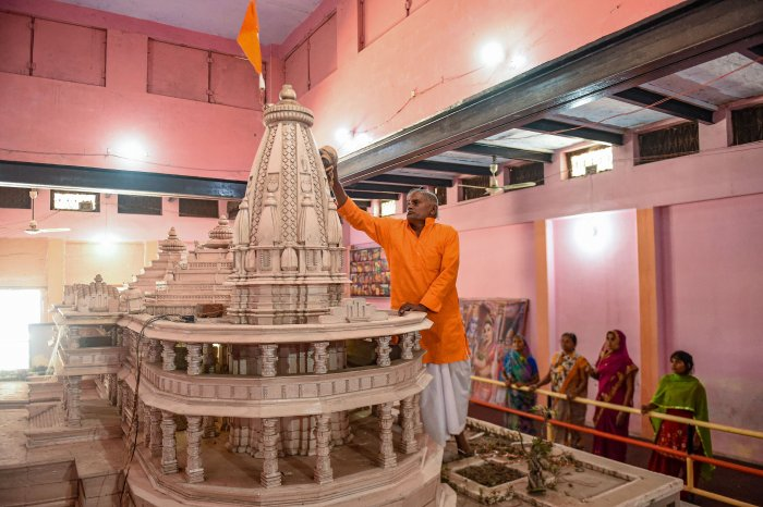 Replica of the proposed Ram Mandir on display at Karsewakpuram, in Ayodhya, Monday, Nov. 11, 2019. (Credit: PTI Photo)