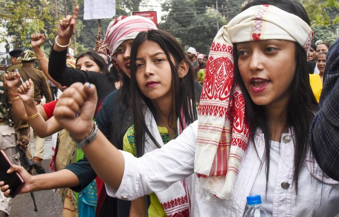 AASU supporters raise slogans during their 'Gana Saityagrah' protest against Citizenship Amendment Act, in Guwahati. (PTI Photo)