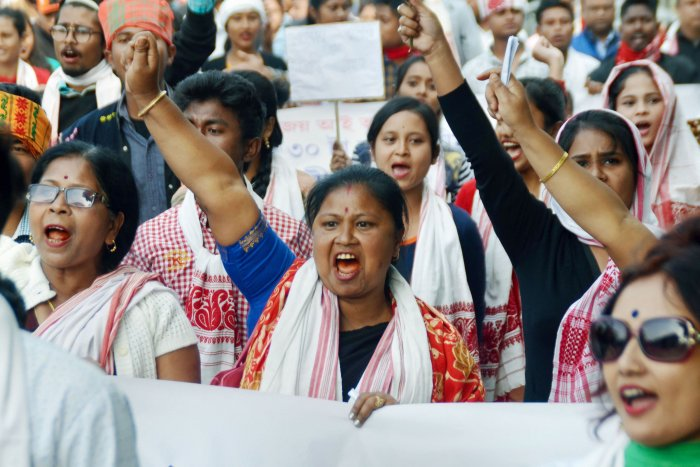 Women participate in a protest rally against the Citizenship Amendment Act (CAA) in Nagaon, Assam, Tuesday, Dec. 17, 2019. (PTI Photo)