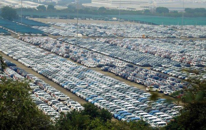 Cars at the Maruti Suzuki factory in Manesar. Credit: PTI