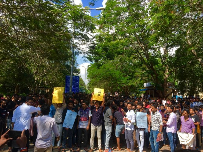 Students of Pondicherry University in Puducherry taking out a protest march on Monday in protest against CAA. DH photo