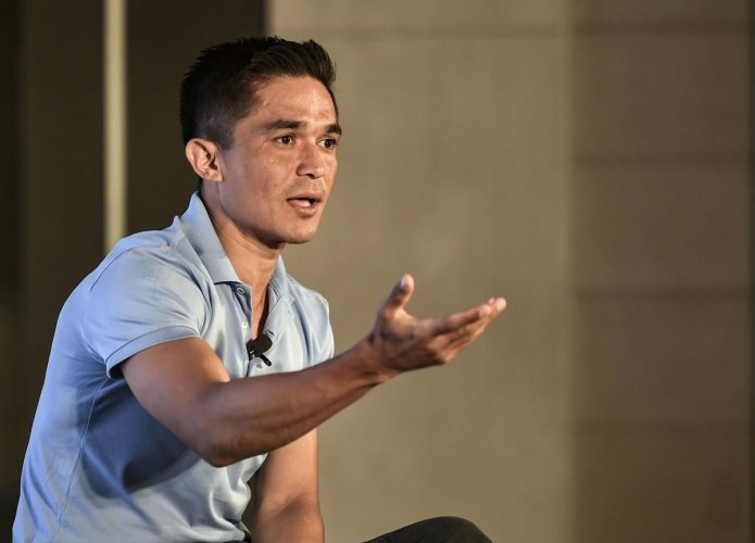 Sunil Chhetri's absence caused Bengaluru FC to hit a roadblock in their AFC Cup qualifiers. PTI file photo