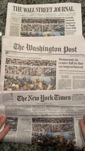 The Washington Post, The New York Times, The Wall Street Journal, and The Guardianfeaturedreports on the ongoing Citizenship (Amendment) Act protests in India on their front pageson Tuesday. (Photo:Twitter)