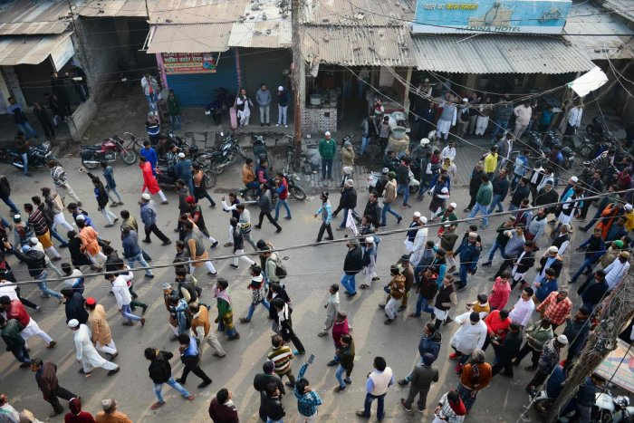 Protesters gather during demonstrations against India's new citizenship law in Allahabad. AFP
