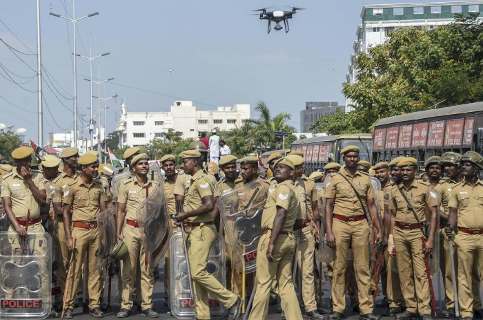 Police personnel use a drone for surveillance as members of various Muslim outfits and political parties take part in an anti-CAA rally, in Chennai, Wednesday, Feb. 19, 2020. (PTI Photo)