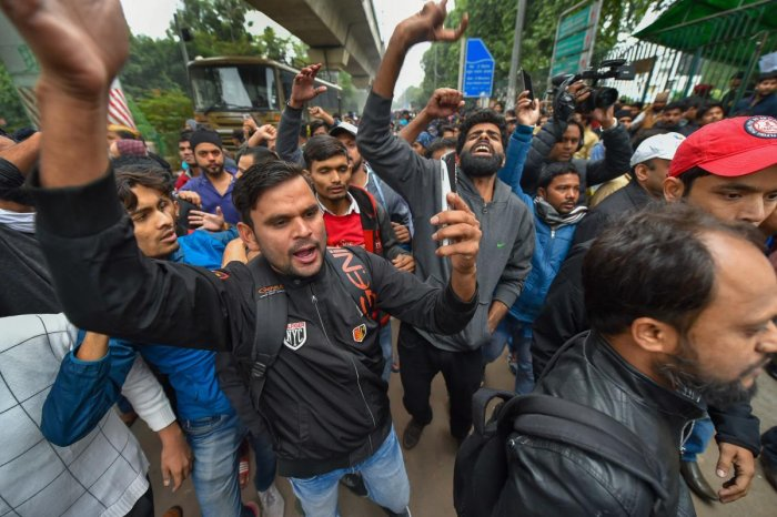 At the Delhi University, students alleged that police cracked down on peacefully protesting students who boycotted exams. Photo/PTI