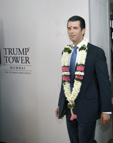 Trump Organisation Executive Vice President Donald Trump Jr. at the announcement of topping out of India's first Trump Tower Project by Lodha Group under the Lodha Luxury Collection, in Mumbai on Thursday. (PTI Photo)