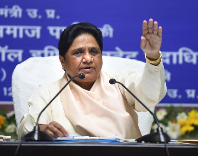 """""""I request my partymen that in view of the emergency-like oppression do not to come on the streets. Instead, they should express their opposition to the said act through posts and mail and by handing over memorandum to DMs, CMs and governors,"""" Mayawati sa"""