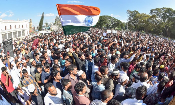 Various organisations took out a protest against the Citizenship Act in Mysuru on Monday. DH Photo