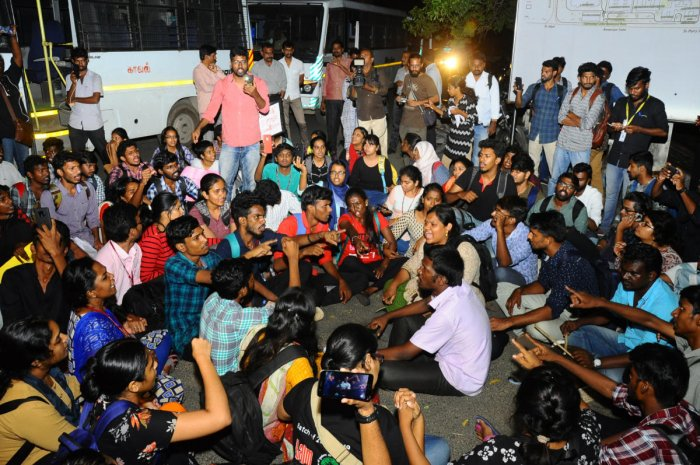 """Police sources said Karthikeyan and Subbiah were picked up police as they were asking students from the Tata Institute of Social Sciences, who held a separate protest on the Marina Beach, to come to their campus. """"They were taken just for questioning,"""" a police officer said."""