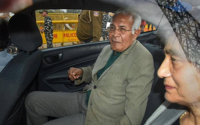 Former bureaucrat Wajahat Habibullah, one of the Supreme Court appointed interlocutors, leaves after meeting the anti-CAA protestors at their protest site at Shaheen Bagh. PTI