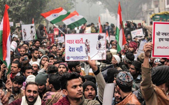 Protestors raise slogans during an anti-Citizenship Act protest. (PTI file photo)
