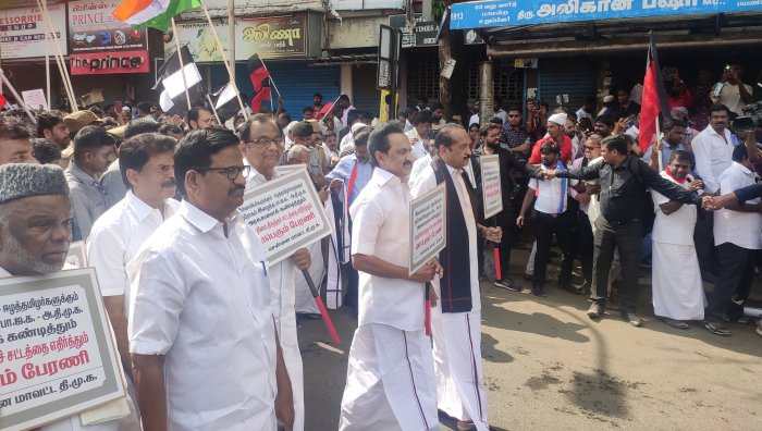 DMK and leaders of alliance parties march from Egmore to Rajarathinam stadium in Chennai. (Photo/ETB Sivapriyan)