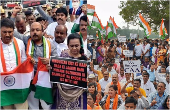 District (Rural) Congress leaders demonstrated against the CAA at Gandhi Square. MLADr YathindraSiddaramaiah ( said the protests will continue until the Union government withdraw CAA (Left) BJPworkers and the members of various organisation gathered at Oval Ground in support of CAA. (Right). Photo/Twitter (@drsarahumer,@DharmaSL)