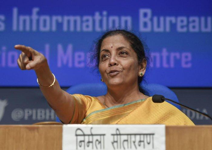 Union Finance Minister Nirmala Sitharaman. (PTI Photo)