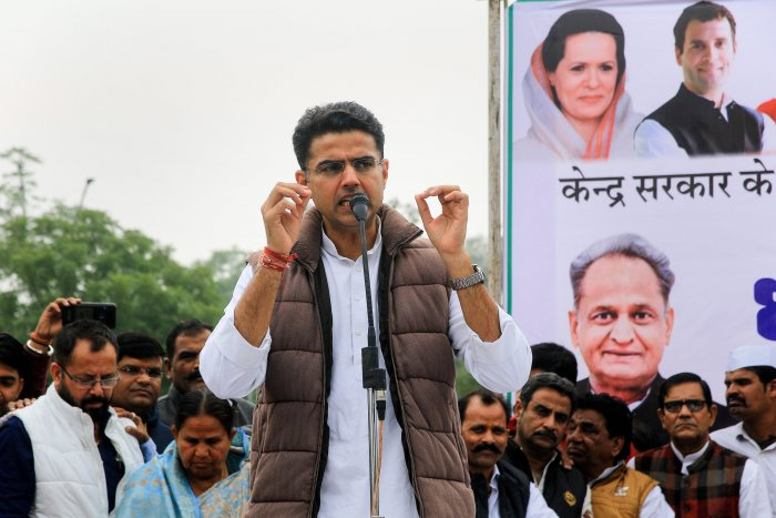 Rajasthan Deputy Chief Minister and Congress leader Sachin Pilot addresses party leaders and workers during a protest against the Citizenship Amendment Bill (CAB) at Gandhi Circle in Jaipur. (PTI Photo)