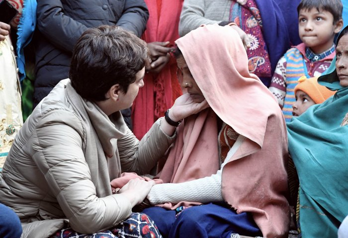 AICC General Secretary Priyanka Gandhi Vadra meets the family members of victims who lost their life during NRC-CAA protests, in Bijnor. (PTI Photo)