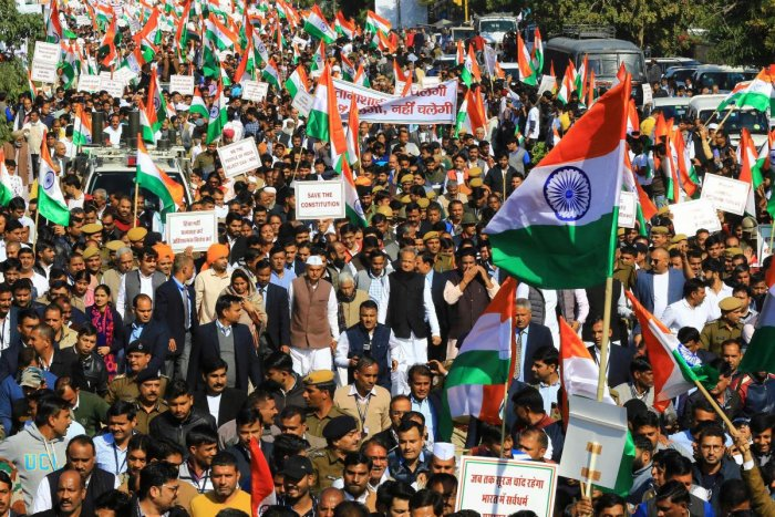 Rajasthan Chief Minister Ashok Gehlot (C) along with congress party leaders, workers and supporting parties takes part in a march against India's new citizenship law in Jaipur. AFP