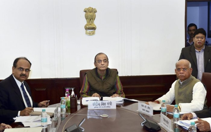 New Delhi: Finance Minister Arun Jaitley, Minister of State for Finance Shiv Pratap Shukla and Revenue Secretary Ajay Bhushan Pandey during the 33rd Goods and Services Tax (GST) Council meeting at North Block in New Delhi, Wednesday, Feb 20, 2019. (PTI Ph