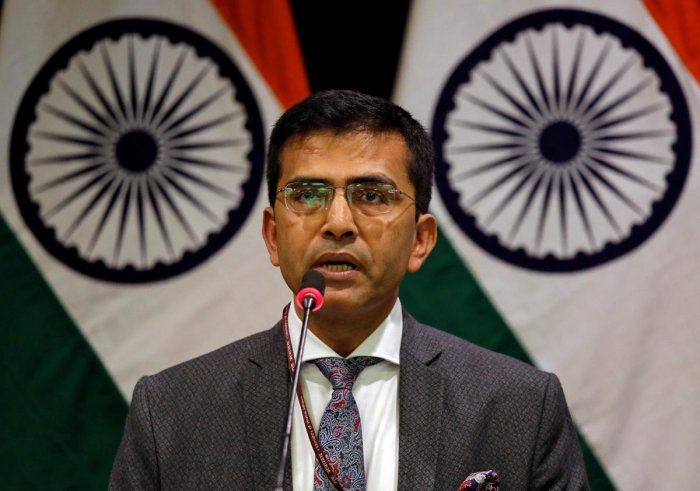 Raveesh Kumar, spokesman for Indian Foreign Ministry, speaks during a media briefing in New Delhi, India, February 27, 2019. (Reuters Photo)