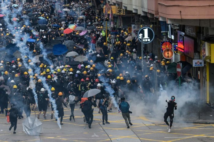 Tear gas is fired by police at protesters in Sham Shui Po in Hong Kong. (AFP file photo)