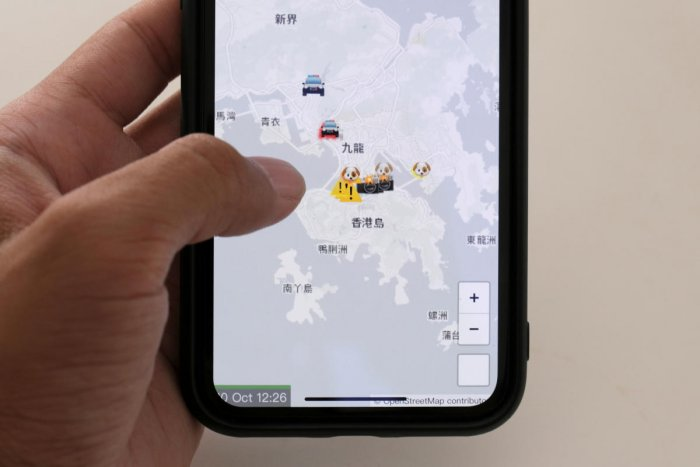 The HKmap.live App is pictured on a phone screen in this photo illustration, in Hong Kong, China, October 10, 2019. (REUTERS)