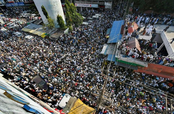 Scores of people took to the streets to participate in the CAA protest in Bhopal. (PTI Photo)