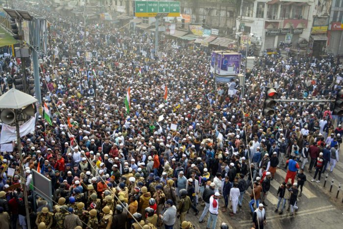 Protestors participate in a rally against the Citizenship (Amendment) Act, in Kanpur. (PTI Photo)