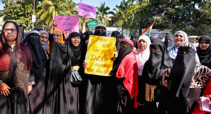 Shivamogga: Muslim women stage a protest against the ammended Citizenship Act at the Eidgah in Shivamogga, Karnataka, Thursday, Dec. 26, 2019. (PTI Photo)