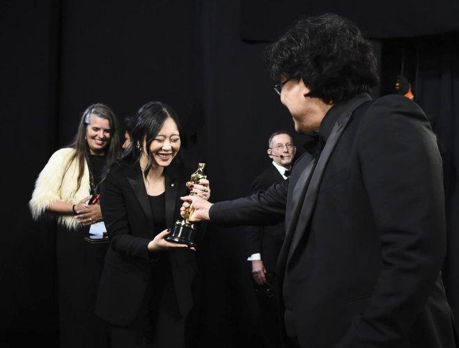 Sharon Choi served as Bong Joon-ho's translator during 'Oscar season'. (Credit: AFP photo)
