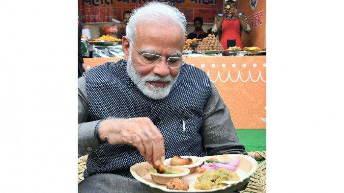 Prime Minister Narendra Modi indulged in scrumptious regional food during his visit. (Twitter Image/@narendramodi/@narendramodi)