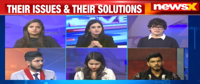 """The second """"guest"""" was Arshiya Bhalla. While introducing her at 5:20, Chopra said, """"Arshiya Bhalla also joins us…"""" NewsX subsequently introduced her as a student at 5:54. However, later in video Bhalla was addressed as a 'professional' or 'young professional.'"""