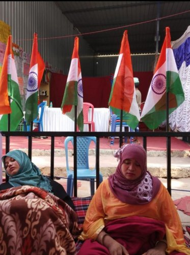 Two Pillanna Garden residents, Amreen (left) and Warsi, on a hunger strike near Tannery Road on Wednesday. Courtesy Saqib Idress