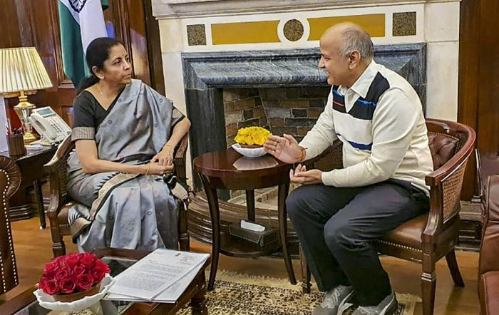 Delhi Deputy CM Manish Sisodia meets Union Finance Minister Nirmala Sitharaman. (PTI Photo)