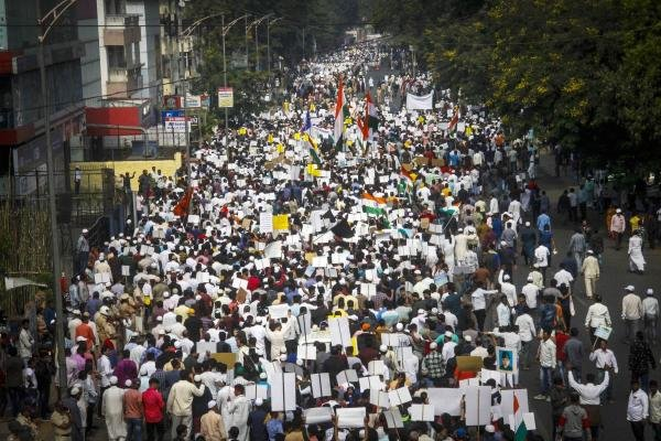 Protestors participate in a rally against a new citizenship law, in Pune, Sunday, Dec. 29, 2019. (PTI Photo)