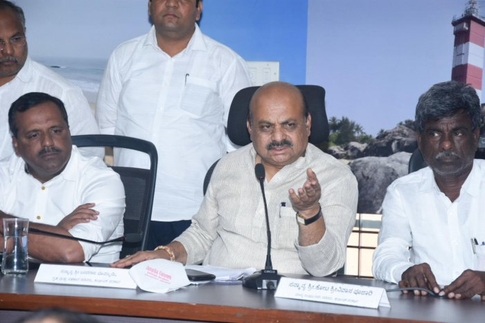 Home Minister Basavaraj Bommai speaks to mediapersons after chairing a meeting, at DC's office in Mangaluru on Tuesday. DH PHoto