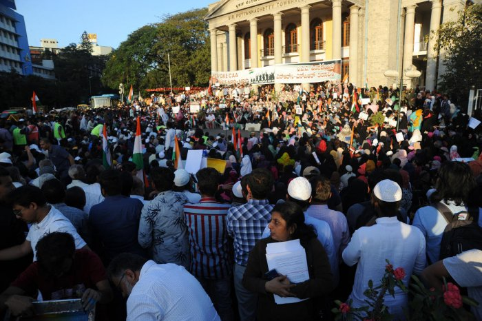 People gather in large numbers to protest against CAA outside Town Hall in Bengaluru. DH File Photo/Pushkar V