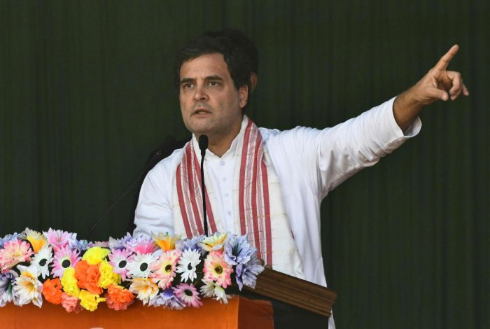Rahul Gandhi, former President of Indian National Congress gestures as he speaks during a rally against India's new citizenship law in Guwahati
