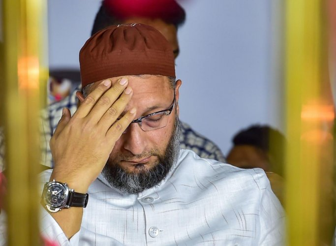 President of the AlI India MIM Asaduddin Owaisi during a protest against CAA, NRC and NPR in Bengaluru, Thursday, Feb.20, 2020. Credit: PTI Photo