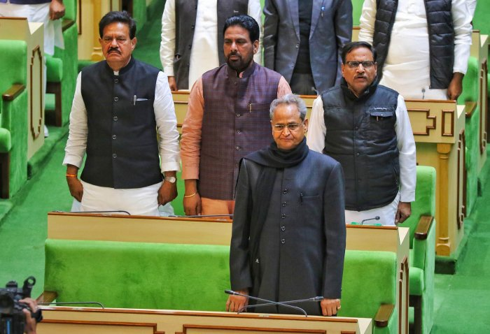 Rajasthan Chief Minister Ashok Gehlot during the ongoing session of Rajasthan Assembly. (PTI Photo)