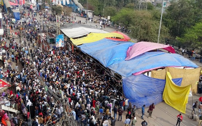 A view of the ongoing agitation against CAA and NRC, at Shaheen Bagh. (PTI Photo)