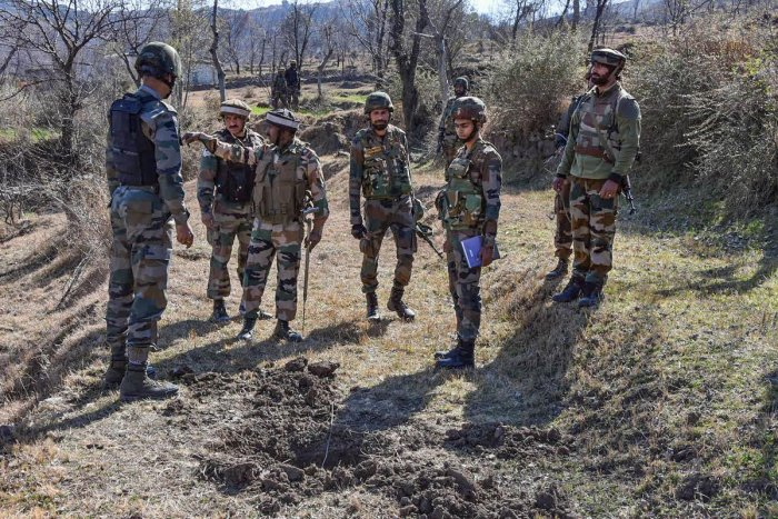 Indian army personnel during a search and cordon operation after villagers reported presence of mortal shells, in Poonch district of Jammu and Kashmir, Monday, Feb. 17, 2020. (PTI Photo)
