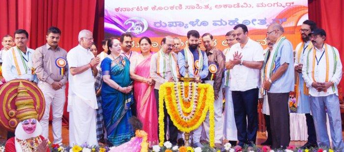 Minister for Tourism, Kannada and Culture C T Ravi inaugurates the silver jubilee celebrations of Konkani Sahitya Academy on S V T Education Institute premises on Saturday.Writer Gokuldas Prabhu, Udupi-Chikmagalur MP Shobha Karandlaje, MLA V Sunil Kumar a